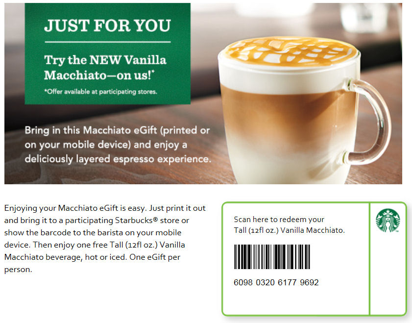 photo about Starbucks Printable Coupon identified as Absolutely free Tall Vanilla Macchiato at Starbucks Printable Coupon